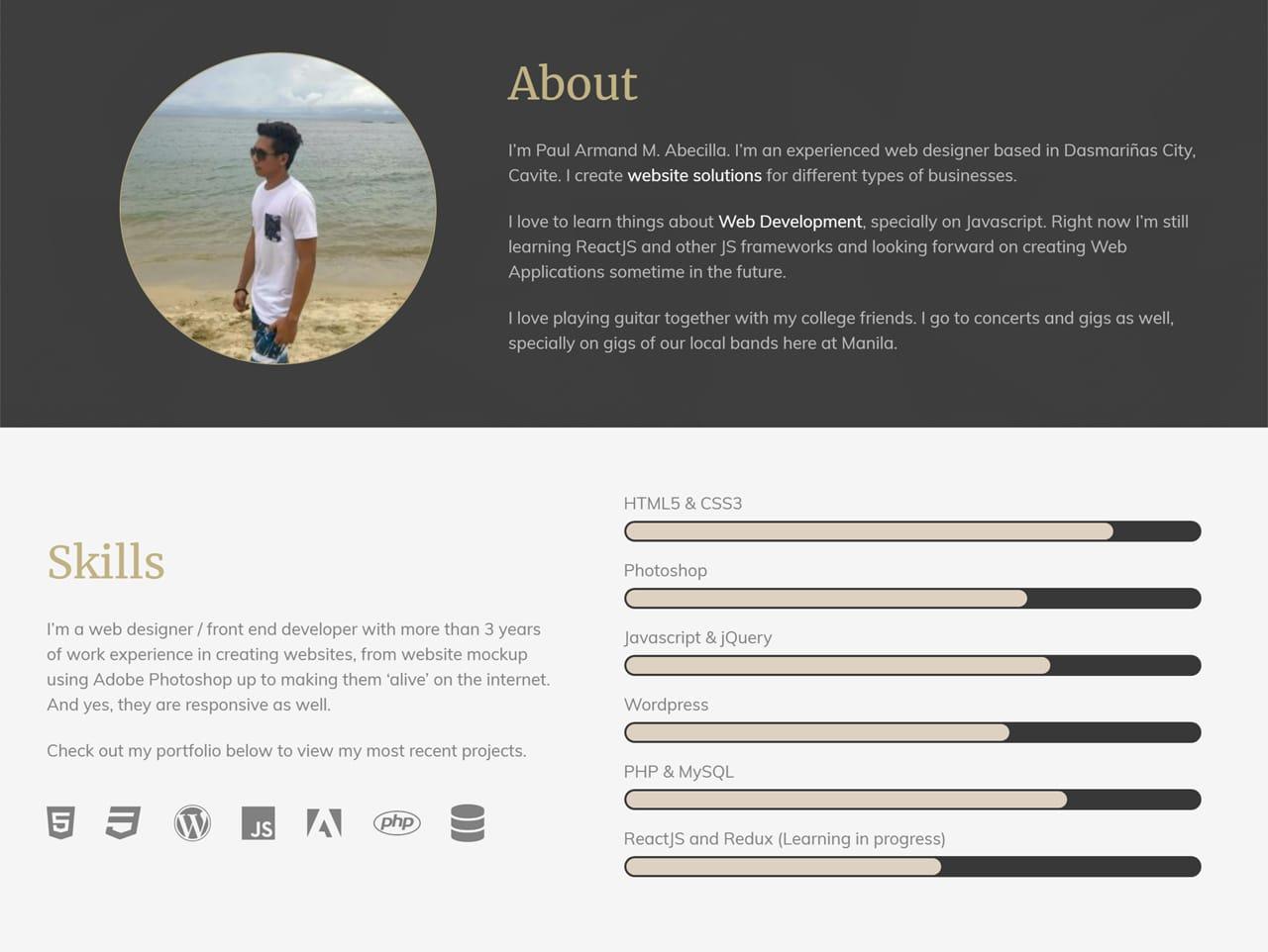 Developer Portfolio Template with jQuery