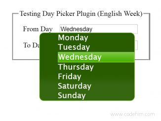 jQuery Week Day Picker - English and Arabic Day Picker