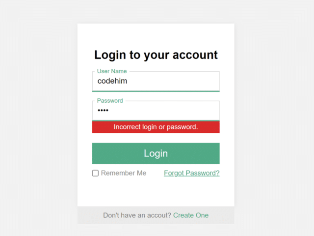 HTML Login Page with JavaScript Validation