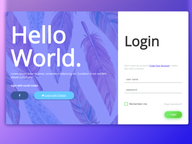 Login Page in HTML with CSS Code